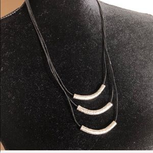 Black Leather and Hammered Silver Necklace